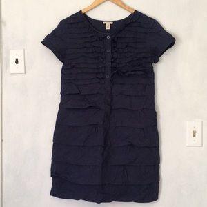 JCrew Navy Cotton Ruffle Dress